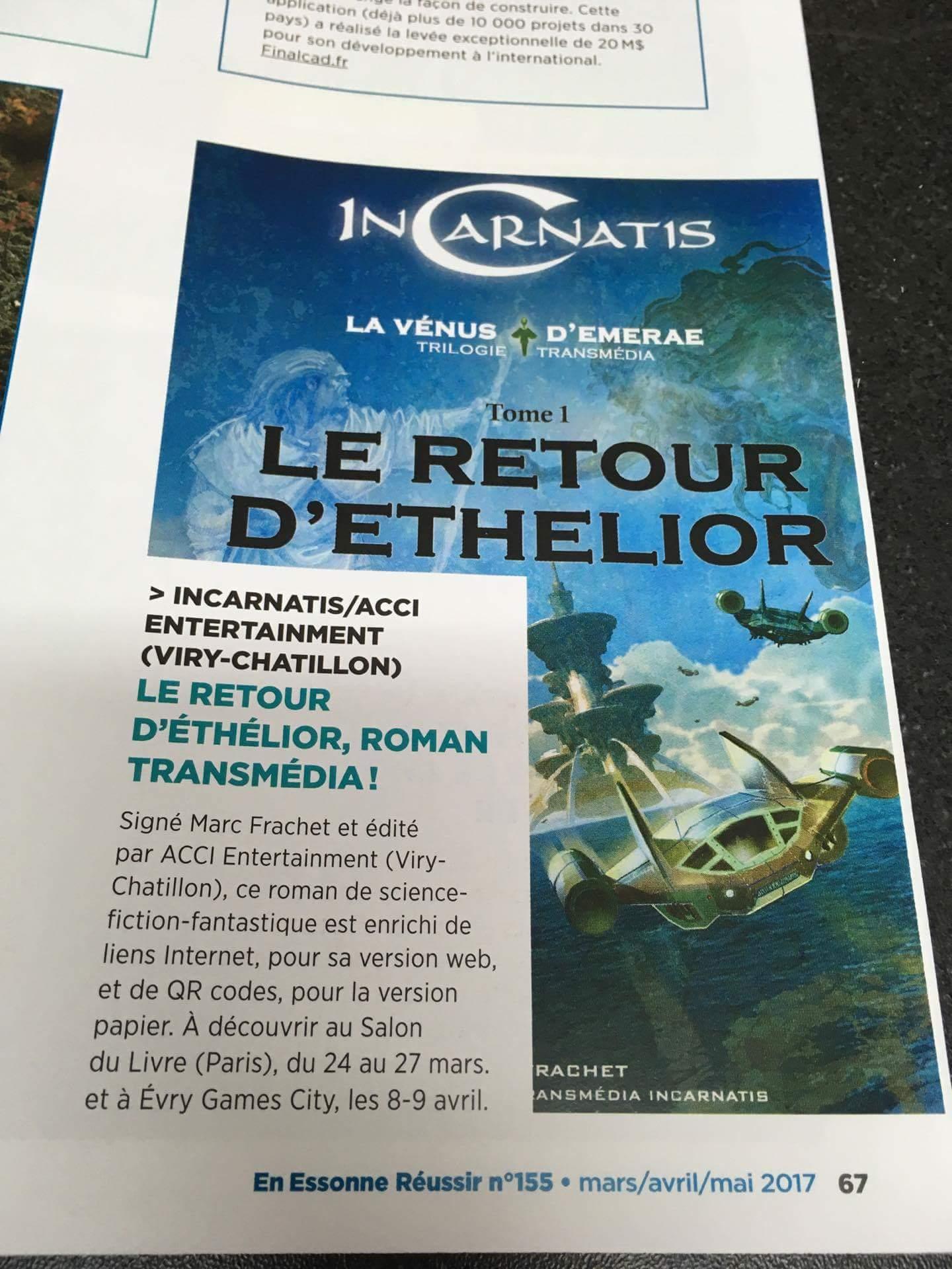 Article sur le roman transmédia InCarnatis - publé dans le magazine